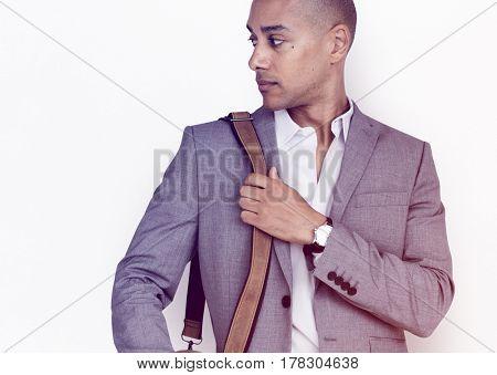 Man Serious Face Expression Studio Portrait
