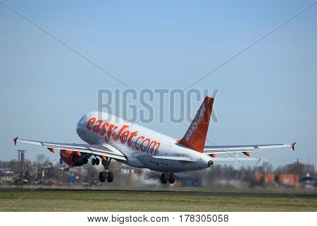 Amsterdam the Netherlands - March 25th 2017: G-EZIP easyJet Airbus A319-100 takeoff from Polderbaan runway.