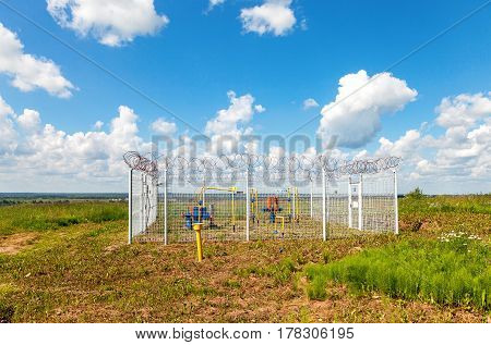 NOVGOROD REGION RUSSIA - JULY 6 2014: Gas regulatory and distribution point in summer sunny day