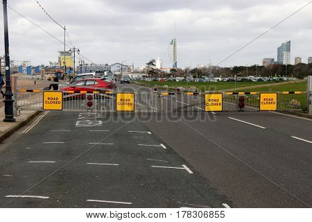 23RD FEBRUARY 2017,SOUTHSEA SEAFRONT,ENGLAND: Barriers across the road closeing the road because of high winds along southsea seafront in England, 23rd February 2017