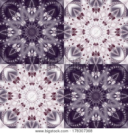 Two-tone pattern with floral circle and square ornament.