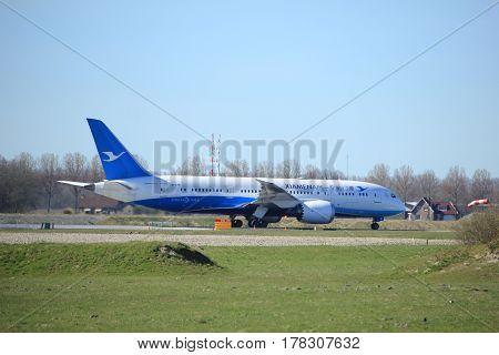 Amsterdam the Netherlands - March 25th 2017: B-2761 Xiamen Airlines Boeing 787-8 Dreamliner takeoff from Polderbaan runway.