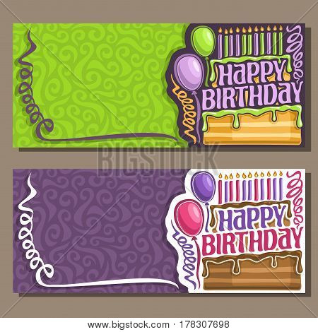Vector cards Happy Birthday: curly streamers, 11 burning candles on cake, greeting lettering text happy birthday, congratulations with happy holiday clip art, creative invitation on children's party.