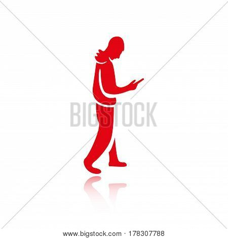 man goes with the phone in hand icon vector flat design