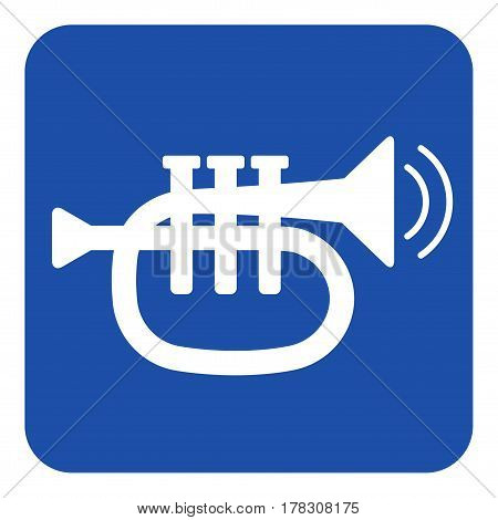 blue rounded square information road sign with white trumpet sound and two vibration waves icon