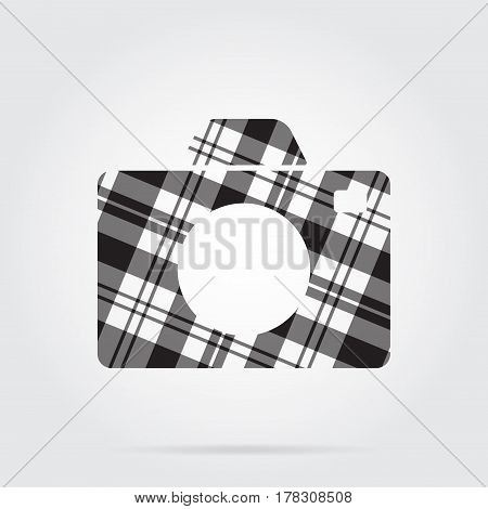 grayscale gray black isolated tartan icon with white stripes - camera and shadow in front of a gray background
