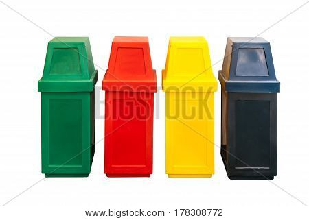 Colorful Plastic Trash For Separate Garbage To Recycle, Isolated