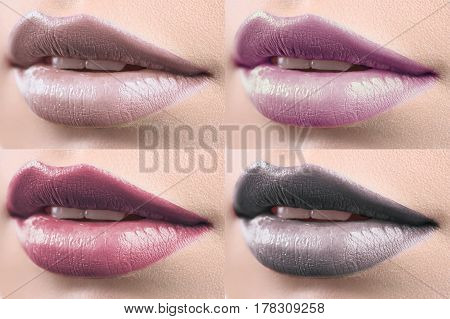 Cold colors. Collage of 4 close ups of plump sexy lips of a woman with glossy lipstick on makeup beauty fashion cosmetics sexuality femininity seduction procedure treatment concept