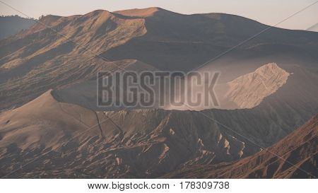 Bromo Batok and Semeru volcanoes at sunrise Java island Tengger Semeru national park East Java Indonesia