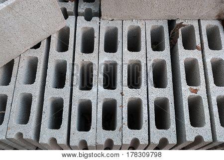 Closeup To Pile Of Unused Concrete Brick