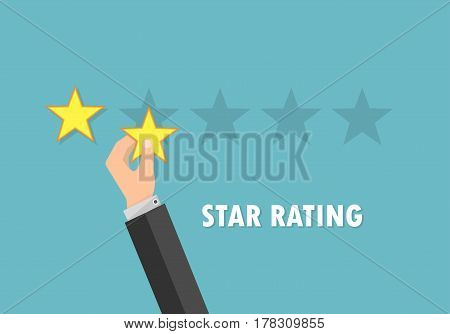 Rating stars and businessman hand giving star . Feedback concept in flat design. Vector illustration.
