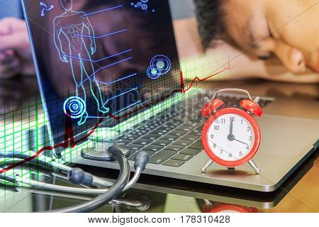 doctor sleep near analog clock and stethoscope on the notebook countdown time