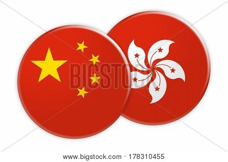 News Concept: China Flag Button On Hong Kong Flag Button 3d illustration on white background