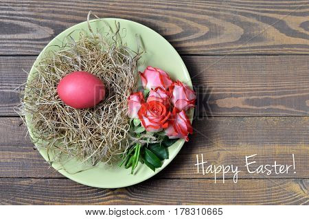 Easter card with Happy Easter text and Easter plate