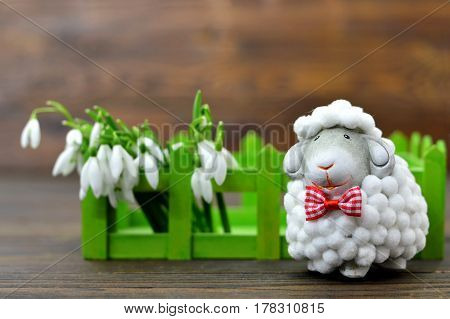 Spring flowers and cute sheep figurine on wooden background
