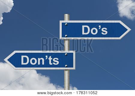 Learning to use proper grammar Blue road sign with words Do's Don'ts with sky background 3D Illustration