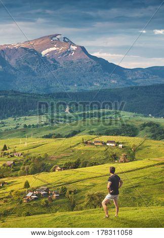 Man Enjoy Carpathian Village