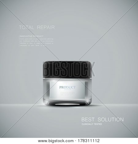 Innovative cosmetic product ads. Cosmetics package design. 3d vector beauty illustration. Moisturizing facial cream mask glass jar isolated on gray background. Beauty package mock-up