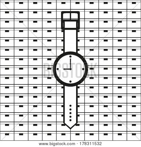 Wrist Watch. Vector icon.  Black and white image on a black and white background.