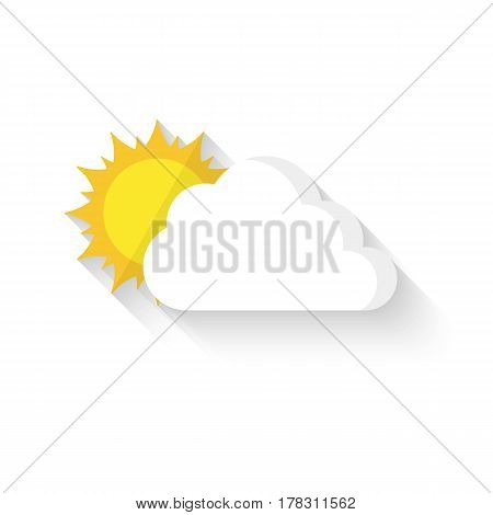 Flat sun behind cloud. Vector illustration. Sun hiding behind the cloud with long shadow isolated on white background