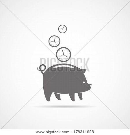 Graf piggy bank with falling clocks. Vector illustration.Concept of time is money. Clocks falling into the piggy bank