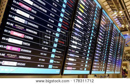 Bangkok - Mar 20: Led Flight Notice Board In The Departures Terminal Of Suvarnabhumi Airport Service