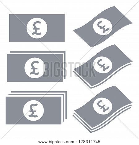 Great Britain pound banknotes vector icons. Money icon set