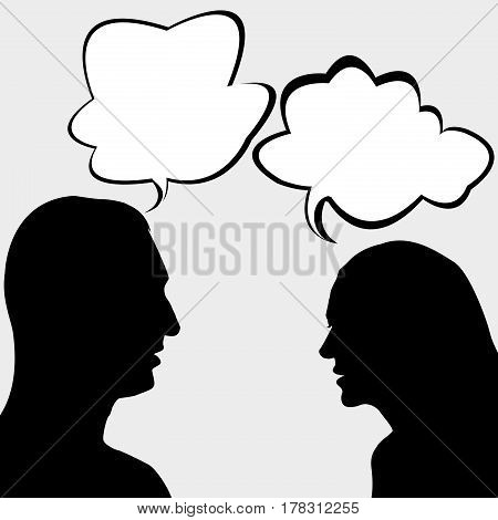 Illustration of silhouettes of man and woman chatting