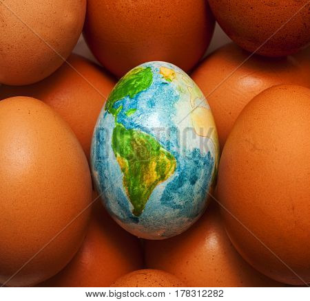 the earth in the form of eggs represents beautiful planet on the background of eggs