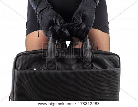 Sexy female legs in beautiful stylish stockings and high heels shoes black gloves and dress holding business bag isolated on white background horizontal view