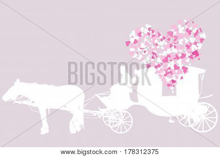 Wedding card with vintage carriage and hearts
