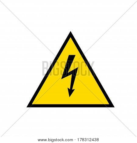 High Voltage Sign. Black arrow in yellow triangle framed by a black line. Vector icon