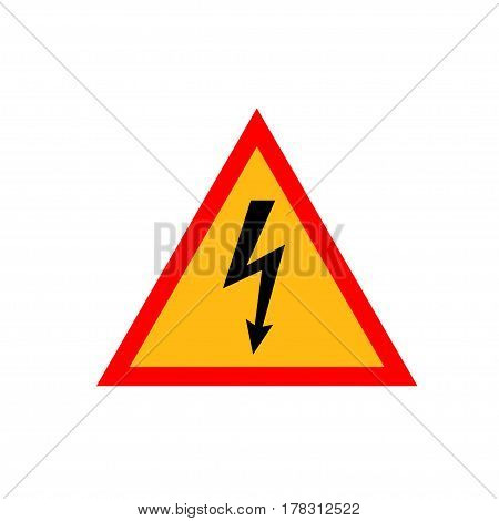 High Voltage Sign. Black arrow in yellow triangle framed by a red line. Vector icon