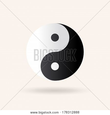 Yin and Yang symbol. Vector icon illustration