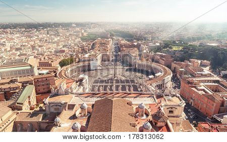 View of Rome and St Peter's Square from dome of St. Peter`s Basilica, Vatican City, Italy