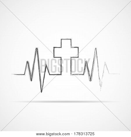 Heartbeat icon with Christian cross. Vector illustration. Heart rate with a Christian cross symbol