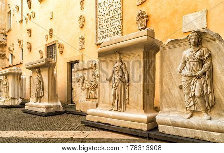 ROME, ITALY - OCTOBER 3, 2012: Antique works of art in the Capitoline Museum. Capitoline Hill - one of the hills of ancient Rome where in ancient times was the Senate.