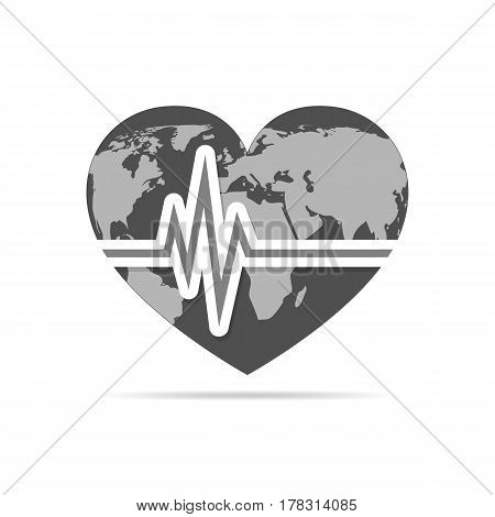 Gray heart with heartbeat icon. Vector illustration. Heart sign with world map in flat design.