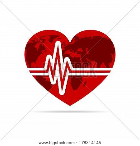 Red heart with heartbeat icon. Vector illustration. Heart sign with world map in flat design.
