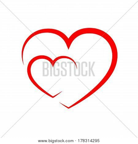 Abstract hearts shape outline. Vector illustration. Red hearts icon in flat style. The heart as a symbol of love.