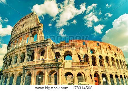 Colosseum (Coliseum) in Rome Italy. Vintage Photo.