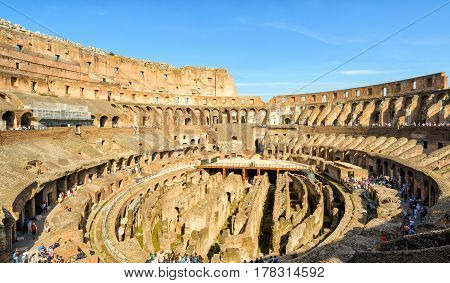 ROME, ITALY - MAY 10, 2014: Inside of Colosseum (Coliseum). The Colosseum is an important monument of antiquity and is one of the main tourist attractions of Rome.