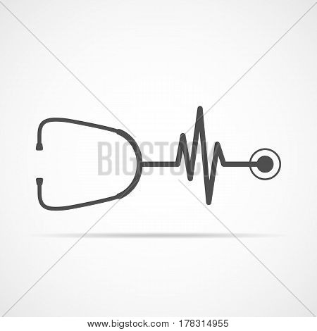 Stethoscope in shape of electrocardiogram. Vector illustration. Stethoscope and heartbeat sign