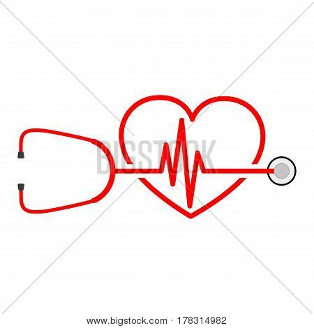 Stethoscope in shape of electrocardiogram. Vector illustration. Stethoscope heartbeat sign and a silhouette of the heart.