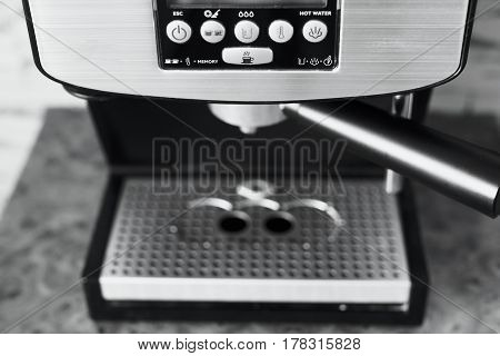 Photo Of A Black And White Button In A Coffee Machine. Configuration Modes Of The Coffee Machine