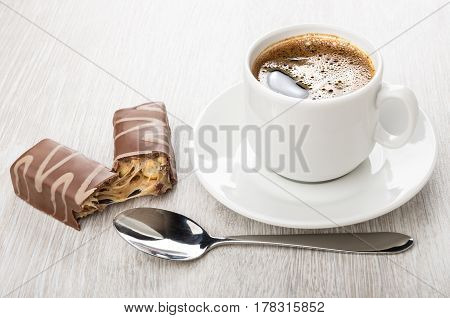 Black Hot Coffee In Cup, Broken Chocolate Candy With Peanuts