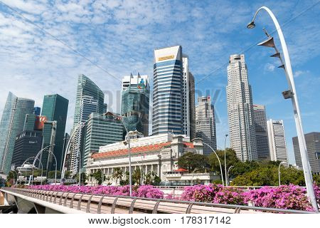 Singapore - Mar 21, 2017 : Singapore City Skyline Or Cityscape And Financial District. Shot At Stree