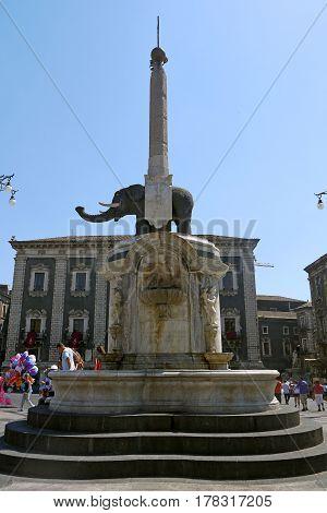 CATANIA, ITALY - July 10, 2014: Piazza Duomo of Catania. ITALY.