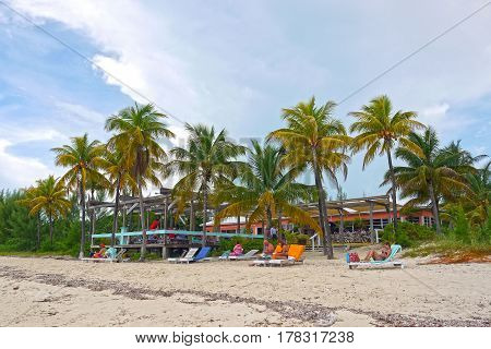GRAND BAHAMA, BAHAMAS - September 17, 2015: Beach bar in The Bahamas.