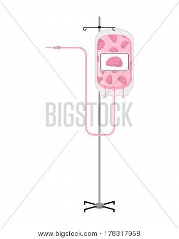 Donation Of Brain Bag On Drip Stand. Transfusion Of Intellect. Education Illustration